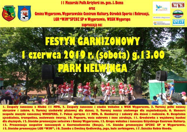 Zapraszamy naFestyn Garnizonowy wWęgorzewie – 01.06.2019 r., Park Helwinga