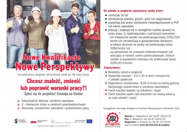 Nowe Kwalifikacje! Nowe Perspektywy! – rekrutacja doprojektu realizowanego przezZDZ