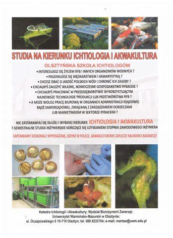 Studia nakierunki Ichtiologia iakwakultura naUWM wOlsztynie